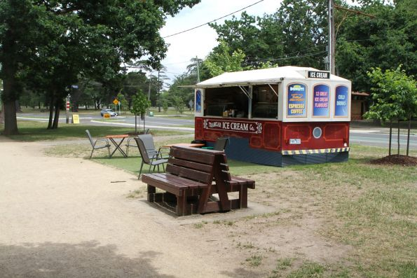 'Tramcar Ice Cream Co' trailer opposite the tram depot