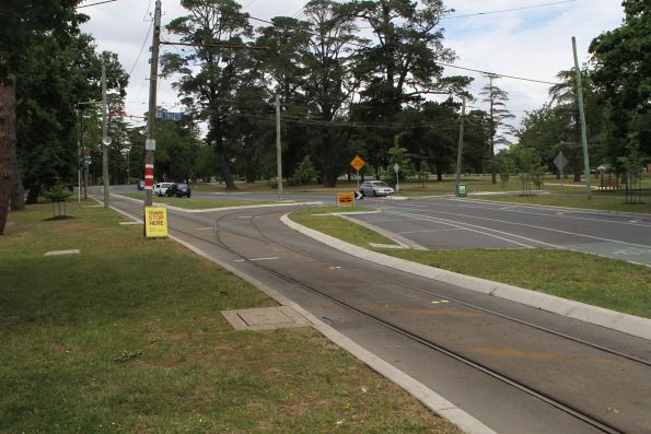Junction to the tram depot now segregated from Wendouree Parade