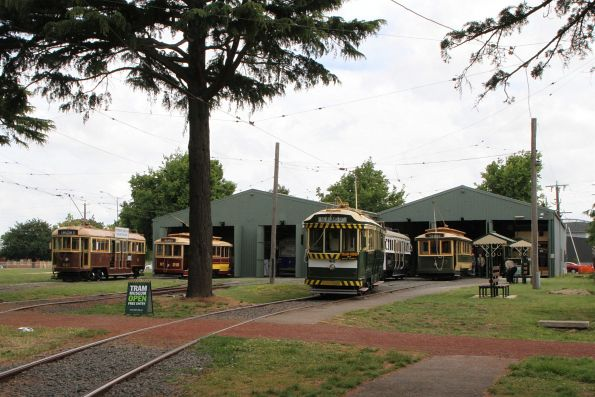 Trams W3.661, 28, 40 and 27 stabled outside the depot