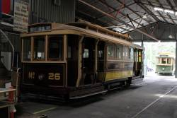 Tram 26 parked in the shed