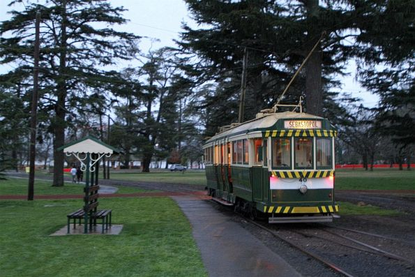 Tram 40 departs the depot on another run
