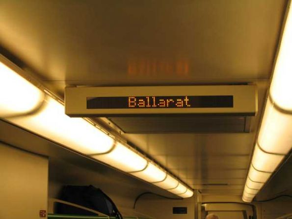 Internal next station display onboard a VLocity train