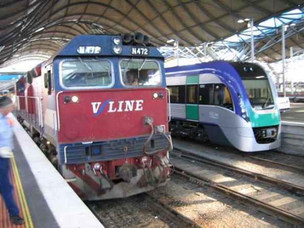 Two eras of V/line travel - the VLocity, and loco hauled train with N472 and N set