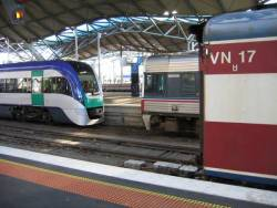 Three eras of V/line travel - the VLocity, Sprinter 7014, and loco hauled N set VN17