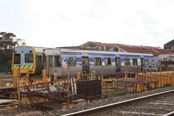 Stored Comeng cars 1109T and 533M at Alstom Ballarat