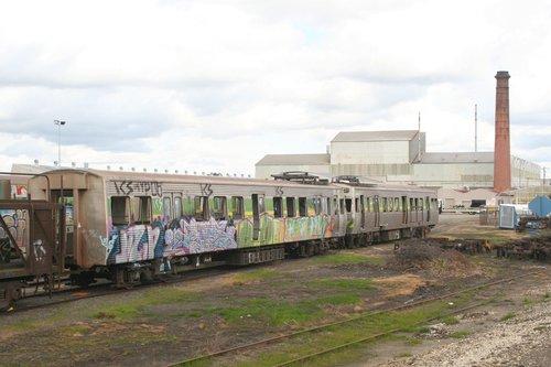 Hitachi cars 204M and 203M stored at Alstom Ballarat