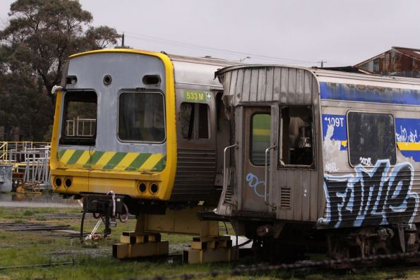 Accident damaged Comeng carriages 1109T and 533M still stored at the Ballarat Workshops