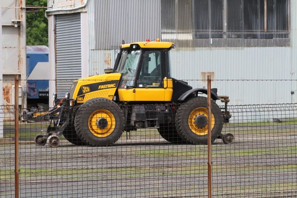 Hi-rail equipped JCB Fastrac 3185 tractor used for shunting rail vehicles at Ballarat Workshops