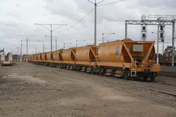 CHOY ballast hoppers stabled at North Geelong Yard