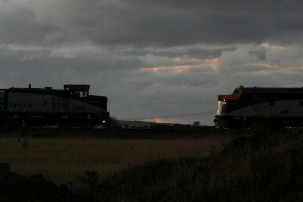 Silhouette of T369 and S311 at Deer Park