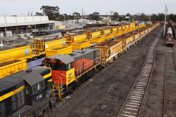 Y145, T341 and T356 shunt the country ballast set at the Wagon Storage Yard