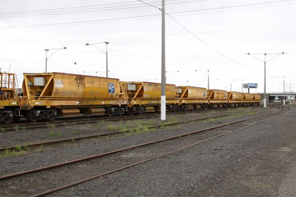 Country ballast set stabled at North Geelong Yard, made up of 15 CHOY wagons