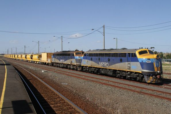 B80 and B76 stabled at North Shore with a ballast train for Regional Rail Link works around Werribee