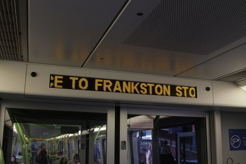 'Service to Frankston stopping all stations' displayed on the PIDS of a X'Trapolis train