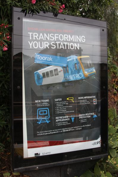 Station specific 'Bayside Rail Project' propaganda at Toorak station