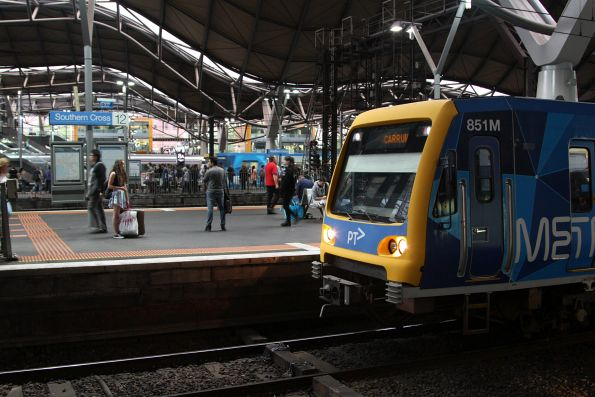 X'Trapolis 851M arrives into Southern Cross platform 12 with a down Carrum service