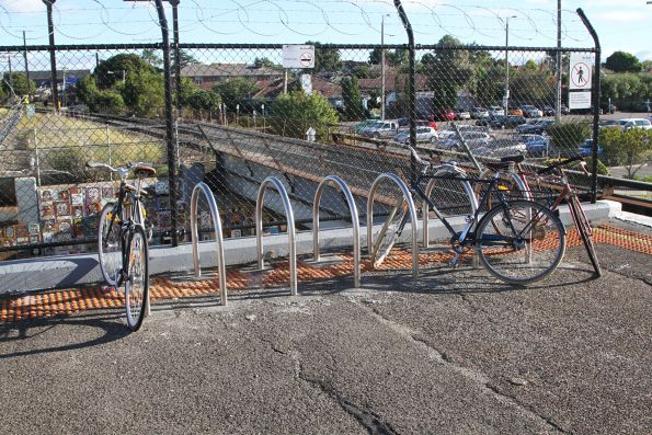 Bike hoops at the down end of Patterson platform 1 and 2