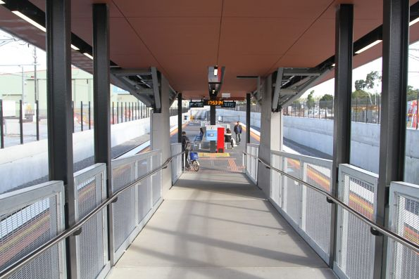Long ramp linking platform and concourse at the new Bayswater station
