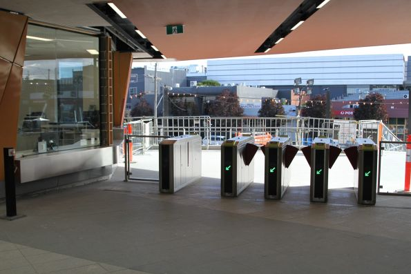 Myki gates at the entrance to the new Bayswater station