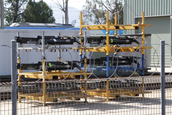 Spare X'Trapolis train pantographs at Bayswater workshops