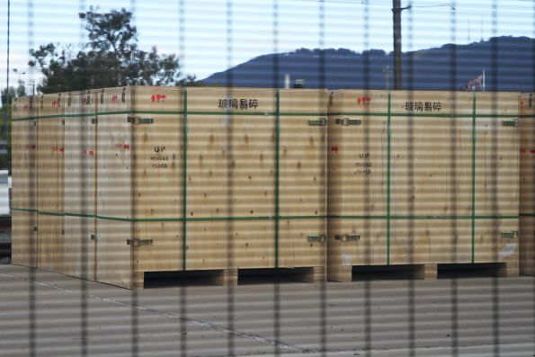 Boxes of China sourced window glass for X'Trapolis trains stacked up at Bayswater