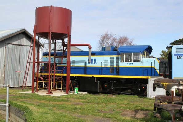 Ex-Emu Bay Railway locomotive 1107 stabled at Queenscliff
