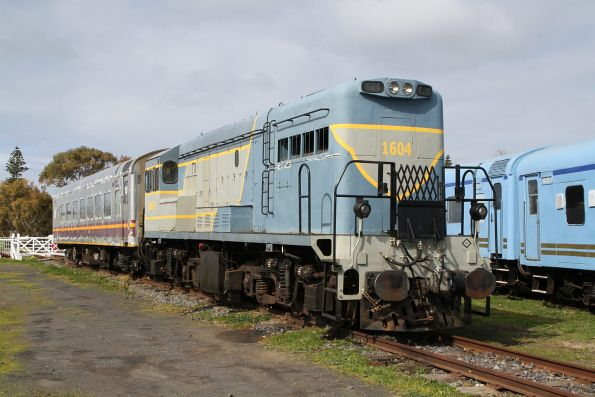 Ex-Queensland Railways locomotive 1604 stabled at Queenscliff with ex-Sunlander staff carriage MSC 1469