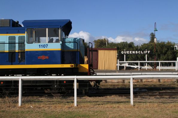 Ex-Emu Bay Railway 1107 stabled on The Q Train at Queenscliff