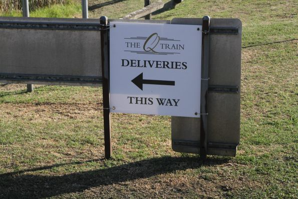 'The Q Train deliveries' sign at Queenscliff station