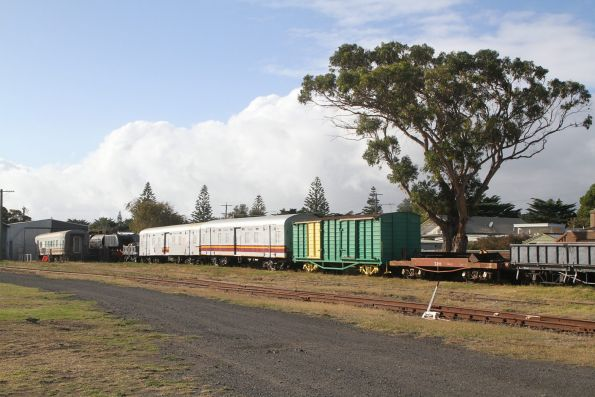 Rolling stock stabled in the yard at Queenscliff station