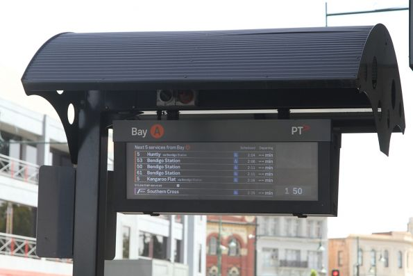Real time bus information sign at the Mitchell Street bus interchange