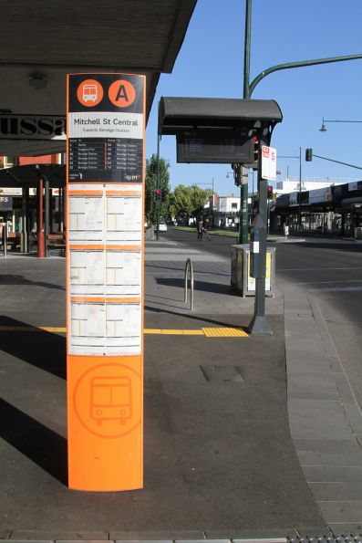 PTV signage at the Mitchell Street bus interchange
