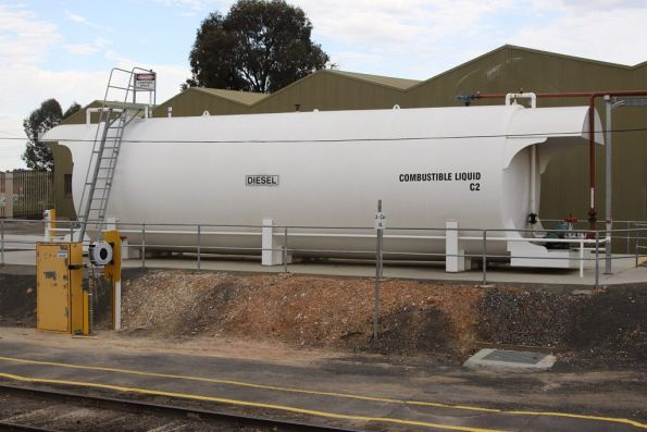 Above ground diesel tank for the VLocity fuel point at Bendigo station