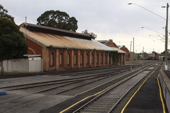 Brick train shed to the west of the Bendigo station