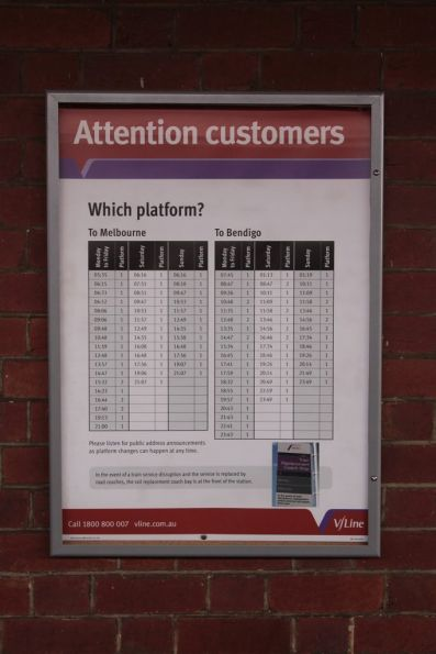 'Which platform' sign at Castlemaine station