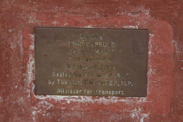 Time capsule at Castlemaine station, placed in 1985 and due to be opened in 2062