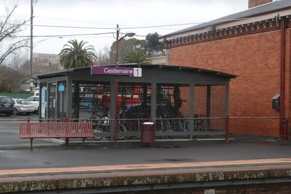 Parkiteer bike cage at Castlemaine station