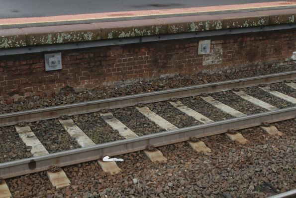 Steel reinforcing on the platform face at Castlemaine platform 1