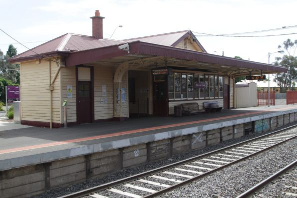 1920s timber station building on platform 1 at Riddells Creek