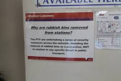 'Why are rubbish bins removed from stations' notice at Bendigo