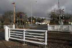 Preserved crossing gates at Gisborne station