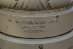 'The British Insulated Wire Co Ltd Prescot' cast into the replica centre poles supporting the overhead along Pall Mall