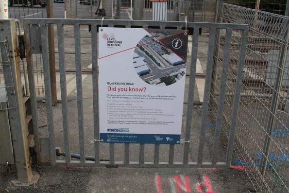 'Did you know' poster at the Blackburn Road level crossing