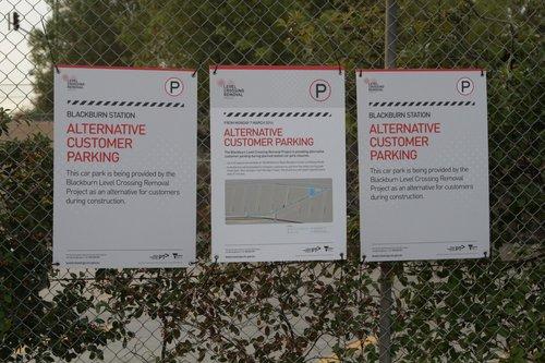 'Alternative Customer Parking' notice at Blackburn station