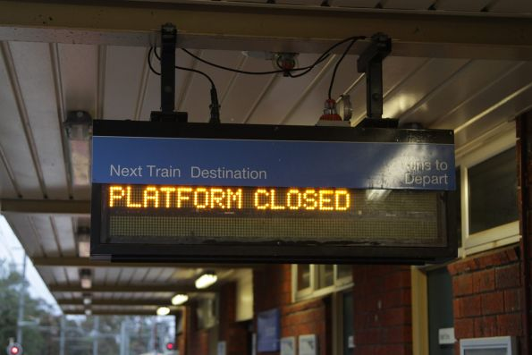 'Platform closed' notice at Blackburn station platform 3
