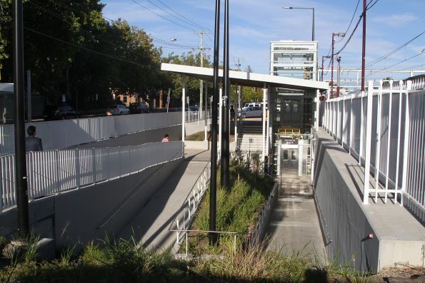 Completed northern entrance to the pedestrian subway at Blackburn station