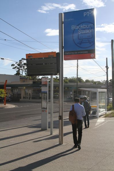Co-located station sign and SmartBus signage at Blackburn station