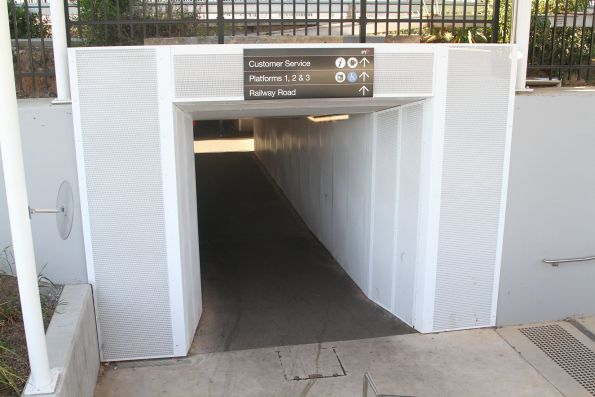 Completed southern entrance to the pedestrian subway at Blackburn station