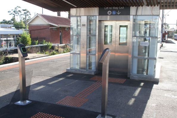 Standalone myki readers at the completed lift entrance to Blackburn platform 1 and 2
