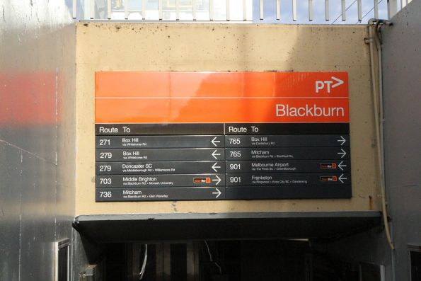 Updated directional signage to the bus stops at Blackburn station